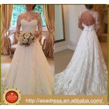 ASWY06 Long Sleeve A-line Open Back Lace Wedding Dress