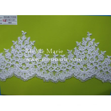 Белый вышивка кружева ткань толстая аппликация кружевной ткани с цветочным CTCB396