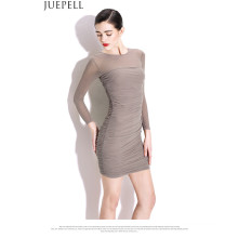 Neue Frauen-reizvolle Paket-Hüfte-dünne Kleider feste Falten Gaze-Rock-Taillen-Knit lang-Sleeved Kleid Guangzhou-Fabrik Soem