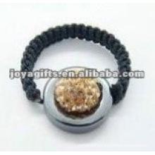 woven crystal ball shamballa ring
