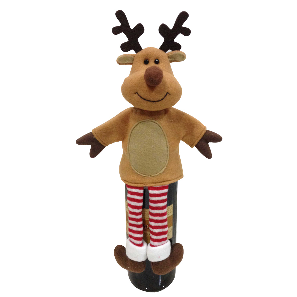 3d Reindeer Pattern Wine Bottle Cover