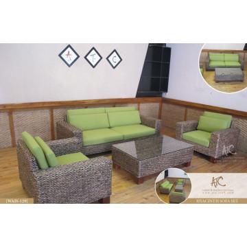 Conjunto de sofá de vime de jacinto de água de design luxuoso