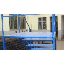 Warehouse Mobile Ladder Platform Metal Portable Stairs with Handrail