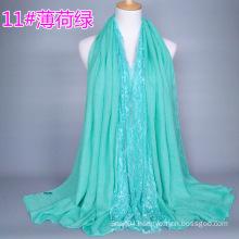 2016 Hijab Turban Brand New Designer Scarves Woman Long Cotton Lace Scarf