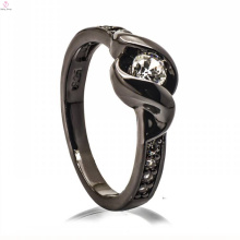 Modische schwarze Kupfer Schmuck Jade 925 Silber Diamant Harz Ring Design für Frau