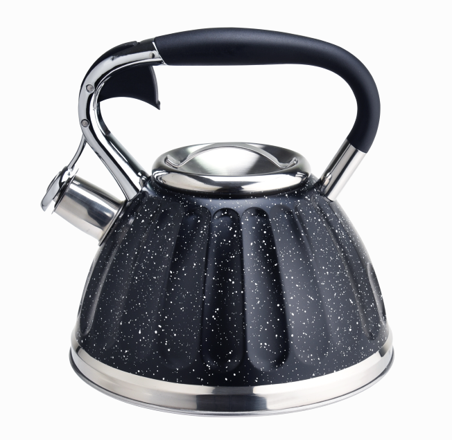 Capsulated Bottom Black Marble Tea Pot 399