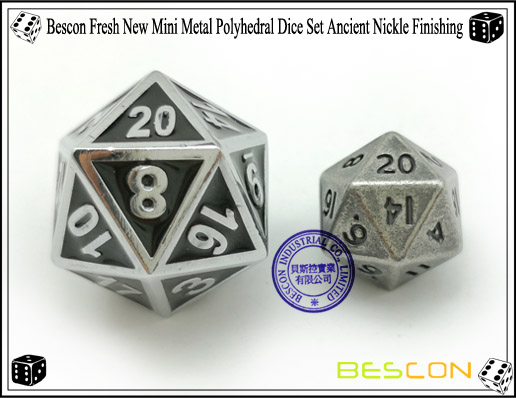Bescon Fresh New Mini Metal Polyhedral Dice Set Ancient Nickle Finishing-2