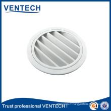 Persienne ronde imperméable de couleur anodisée pour l'usage de ventilation