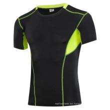 Fitness y deportes apretados elástico manga corta hombres Activewear camisetas