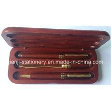 Presente de madeira caneta conjunto caneta bola caneta abridor de carta