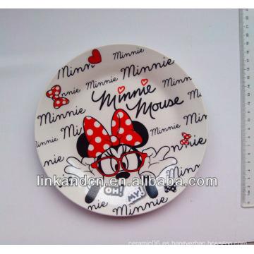 Placa lateral de cerámica de cerámica de Minnie de la mejor calidad, placa de cena de cerámica de encargo de las ilustraciones