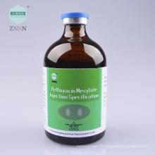 Injection de mésylate de pefloxacine, utilisé pour la maladie bactérienne de l'infection de poulet et de mycoplasme
