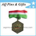 Medalha de Bronze antiga personalizada com fita