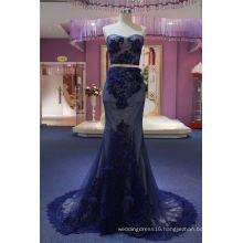 Navy Blue Lace Strapless Mermaid Evening Dress Wedding Dress