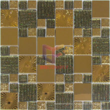 Sun Pattern Gold Metal Mix Glass Mosaic (CFM922)