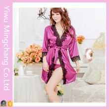 Fashion Designed Women Sexy Polyester Sleepwear with Lace (80001)