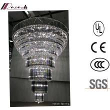 Lustre de cristal Multilevel do diodo emissor de luz da entrada do hotel da alta qualidade grande
