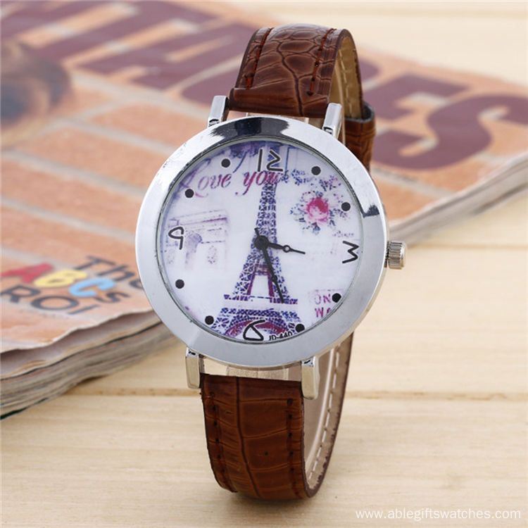 2017 Eiffel Tower Dail Leather band Watch