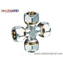 Pex-Al-Pex Fitting/Brass Cross Fitting with Nickel Plated for Pex-Al-Pex Pipe