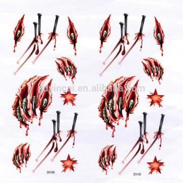 Другой Стиль прочный 3D татуировки бумаги с кровавый коготь печать