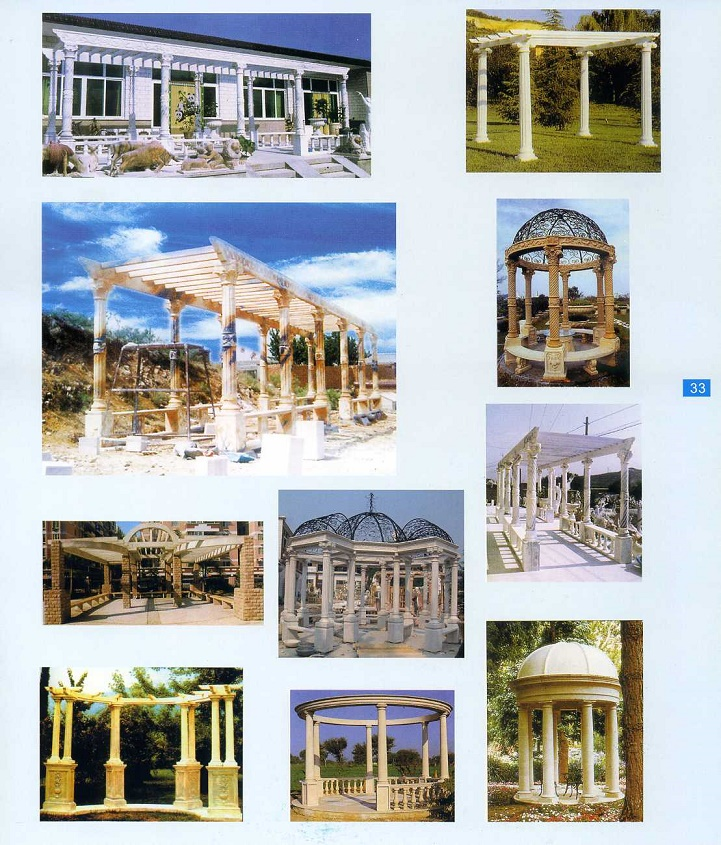 carved stone pillar gazebo