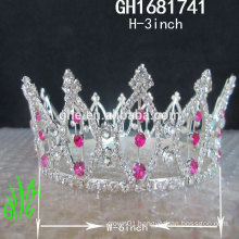 New designs rhinestone royal accessories New tall pageant crown tiara
