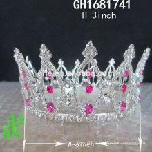 Novos designs rhinestone acessórios reais Nova tiara alta coroa