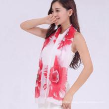 2017 colorful direct supply flower print chiffon beach stole shawl scarf wholesale China