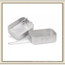 2 Army Camping Aluminium Mess Tins with Folding Handle (CL2C-DJ1813-2)