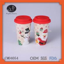 Weihnachtsgeschenkeinzelteil keramische Reise-Kaffeetasse thermischer Becher mit Deckel