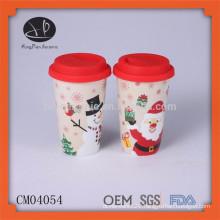 Christmas gift item ceramic travel coffee mug thermal mug with lid