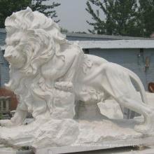 Gartendekoration im Freien chinesische antike Steinschnitzerei Marmor lebensgroße Löwen Statuen zu verkaufen