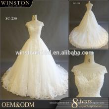 Горячая Продажа завод пользовательские Cap рукава свадебное платье реального