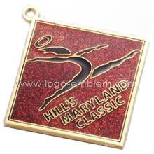 Medalla de baile personalizada chapada en oro con epoxi y brillo