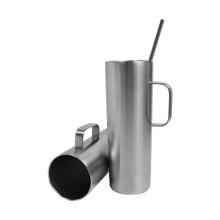Unbreakable double walled stainless steel beer mug with handle