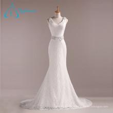 Lace Beading Crystal Pearls V Neck Mermaid Sexy Wedding Dress