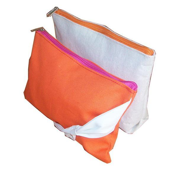 Orange cotton zipper bag