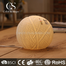 Electrical decorative woolen ball ceramic table lamp for home