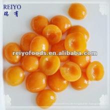 Konservierte Aprikosenhälften in Sirup