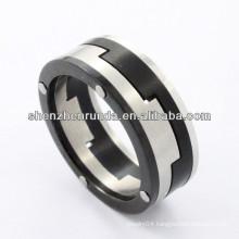 2014 fashion ring,high polish stainless steel ring black couple bar-type for men