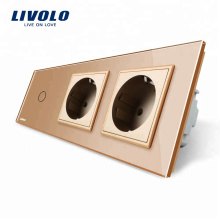 Livolo Nouveau Prise de courant CA 220 ~ 250V Prise électrique de deux communications avec commutateur tactile VL-C701-13 / VL-C7C2EU-13