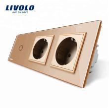Livolo Новая розетка переменного тока 220 ~ 250 В 2 Gang Electric Plug с сенсорным выключателем VL-C701-13 / VL-C7C2EU-13