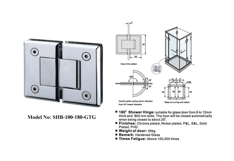Glass-to-Glass Hinges Satin Finish