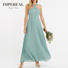 Twisted Halter Neckline Maxi Pleated Maid Of Honor Bridesmaid Dresses Green For Women