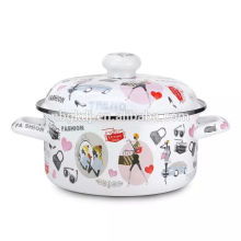 Rose Decal Enamel Pot/Enamel casserole/Enamel Cookware, flower cooking pots and pans