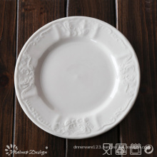 White Porcelain Embossed with Classic Design Side Plate