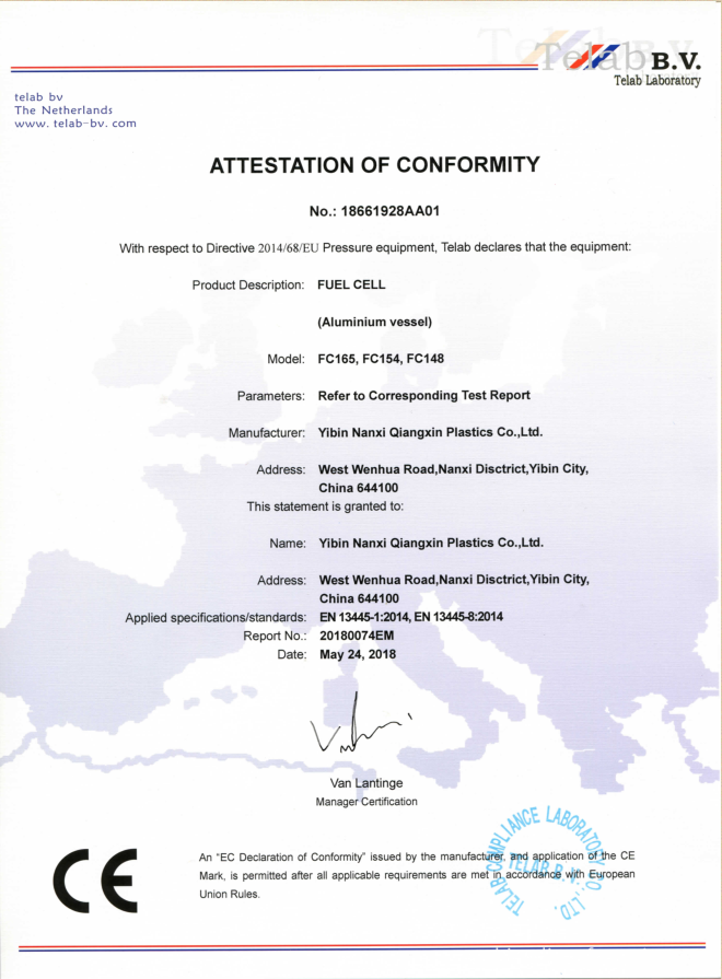 GAS FUEL CELL CE CERTIFICATE