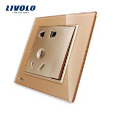Livolo Хороший Дизайн Золотой Цвет Умная Стеклянная Панель 5 Контактов Розетка и Выключатель VL-W2Z1D-13