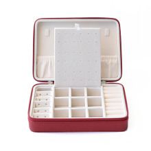 Portable Women Leather Jewelry Case For Necklace,Red Travel Velvet Jewelry Packaging Box Gift