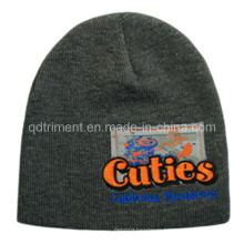 Acrylic Patch Printed Embroidery Warm Ski Knitted Beanie Hat (TRK004B)